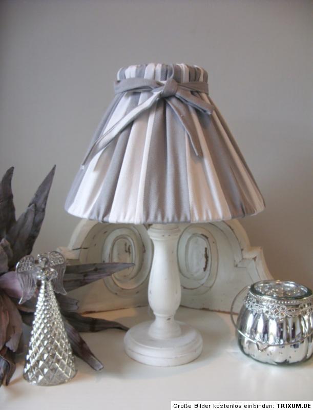 tisch lampe tischleuchte cottage holz grau wei 38 cm landhaus shabby french ebay. Black Bedroom Furniture Sets. Home Design Ideas