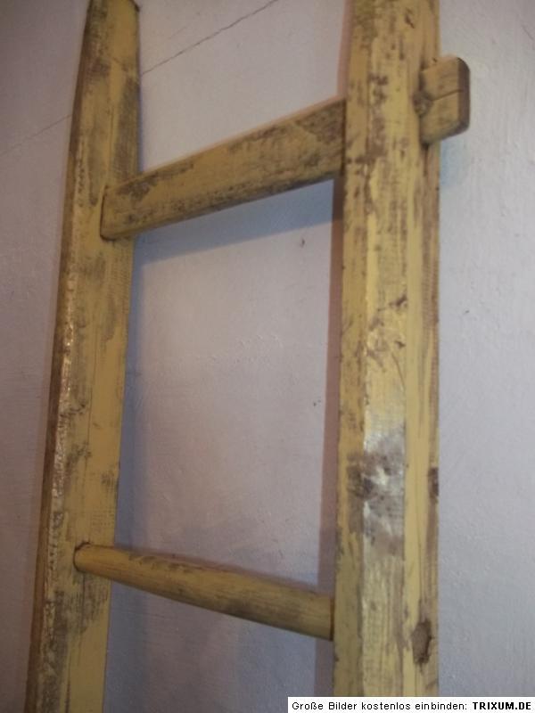 alte holzleiter leiter 6 sprossen 2 meter shabby ebay. Black Bedroom Furniture Sets. Home Design Ideas
