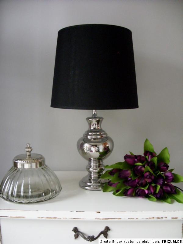 tischleuchte tisch lampe leuchte 53 cm schwarz silber fu rund shabby landhaus ebay. Black Bedroom Furniture Sets. Home Design Ideas