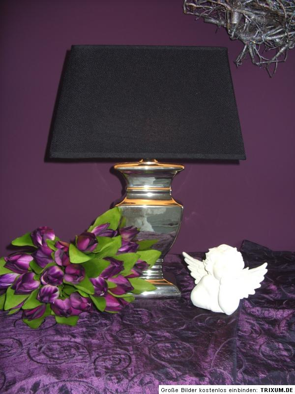 tischleuchte tisch lampe leuchte neu silber schwarz shabby landhaus vintage. Black Bedroom Furniture Sets. Home Design Ideas