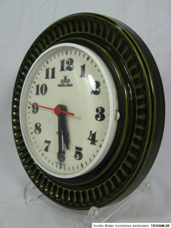 70 s design meister anker pottery wall clock keramik wand uhr green glaze ebay. Black Bedroom Furniture Sets. Home Design Ideas
