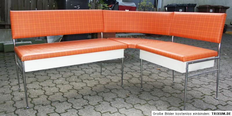 Eckbank Küche Esszimmer 70er Jahre Weiß Orange Chrom .