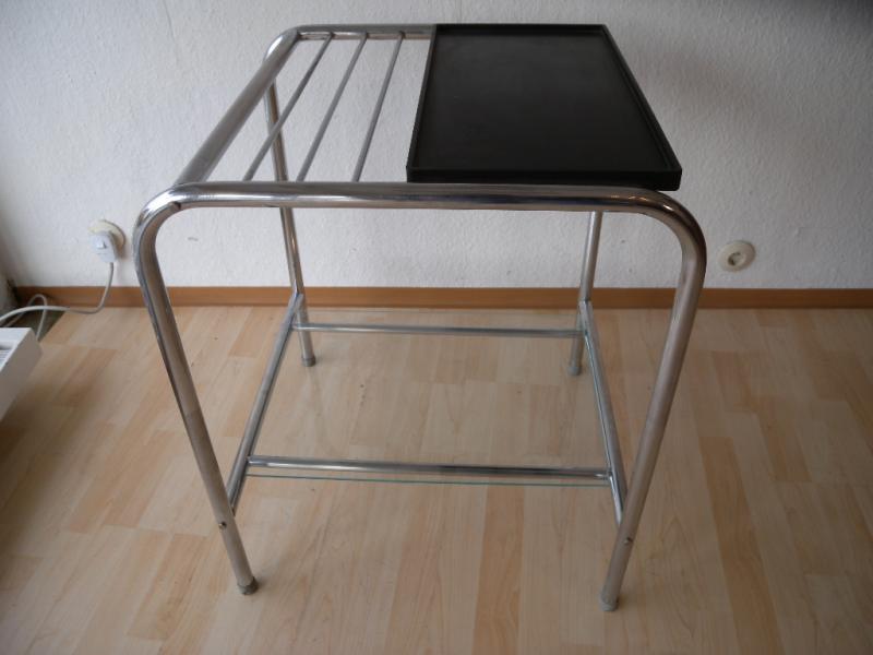 original bauhaus art deco chrom stahlrohr regal beistelltisch blumen tisch 30er ebay. Black Bedroom Furniture Sets. Home Design Ideas