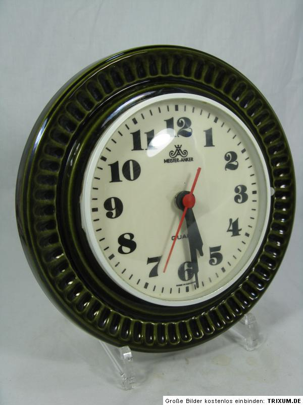 70 s design meister anker pottery wall clock keramik wand. Black Bedroom Furniture Sets. Home Design Ideas