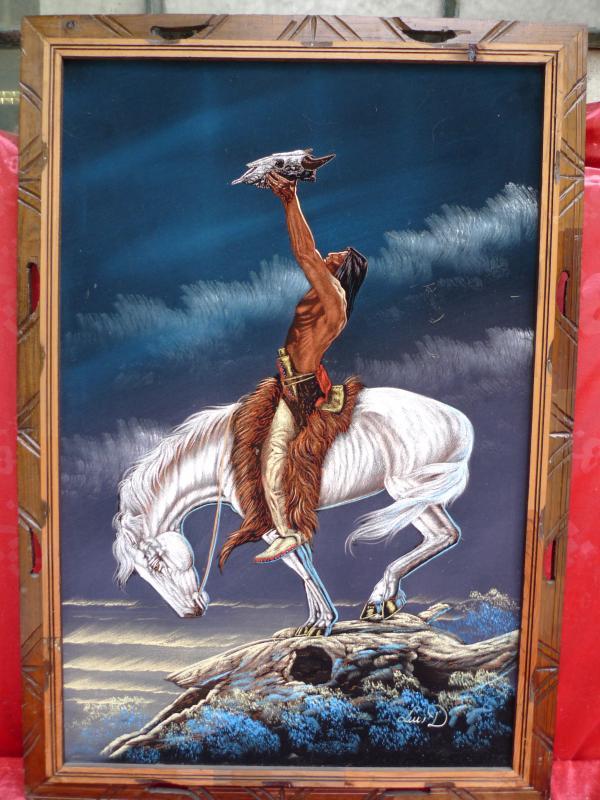 sch nes altes gem lde indianer auf pferd leuchtende. Black Bedroom Furniture Sets. Home Design Ideas
