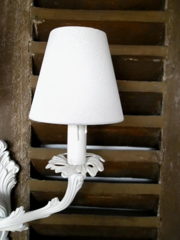 lampenschirm klemmschirm aufsteckschirm kronleuchter 11x7x12 wei offwhite neu ebay. Black Bedroom Furniture Sets. Home Design Ideas