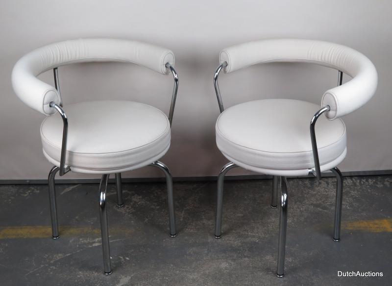 2x stuhl orginal cassina lc 7 design klassiker von le corbusier creme wei stoff ebay. Black Bedroom Furniture Sets. Home Design Ideas
