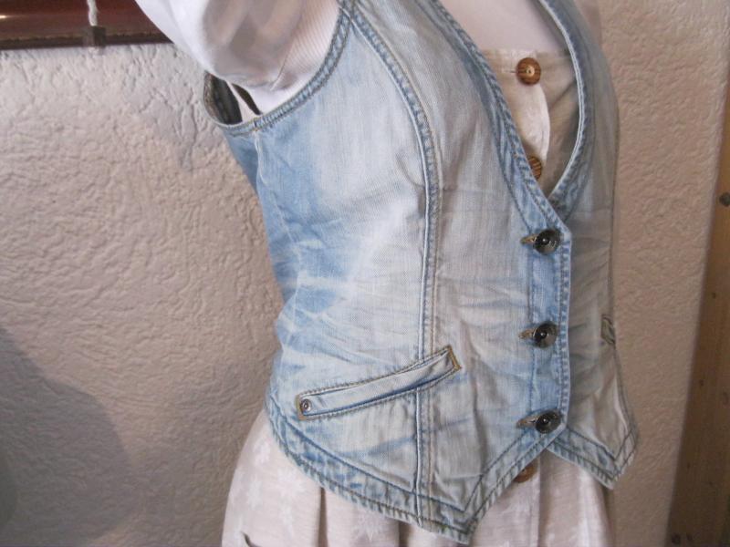 helle damen jeansweste esprit jeans gilet fade out gr xl. Black Bedroom Furniture Sets. Home Design Ideas