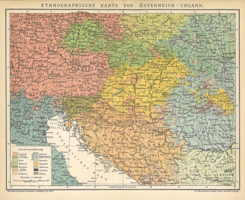 B14 Ethnographische Karte von Österreich-Ungarn. Historische Landkarte 1898
