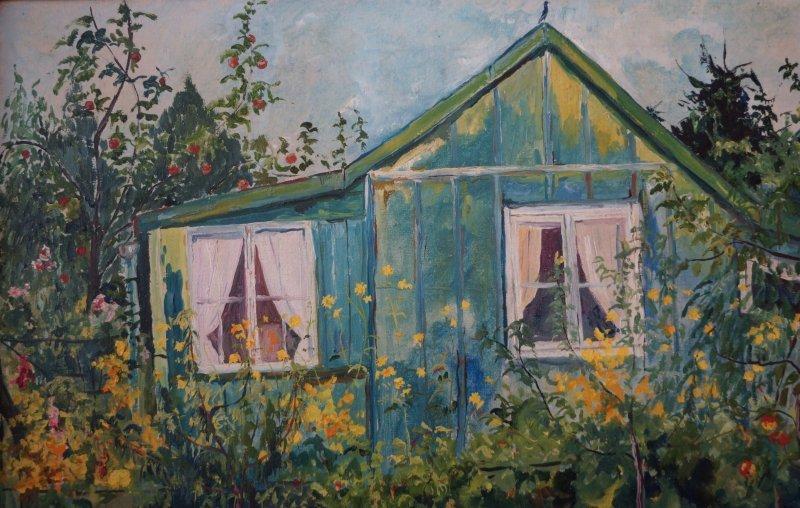 Paulini Gartenh User pauline kasimir gartenhaus zwischen apfelb 228 umen 214 l auf leinen gerahmt ebay