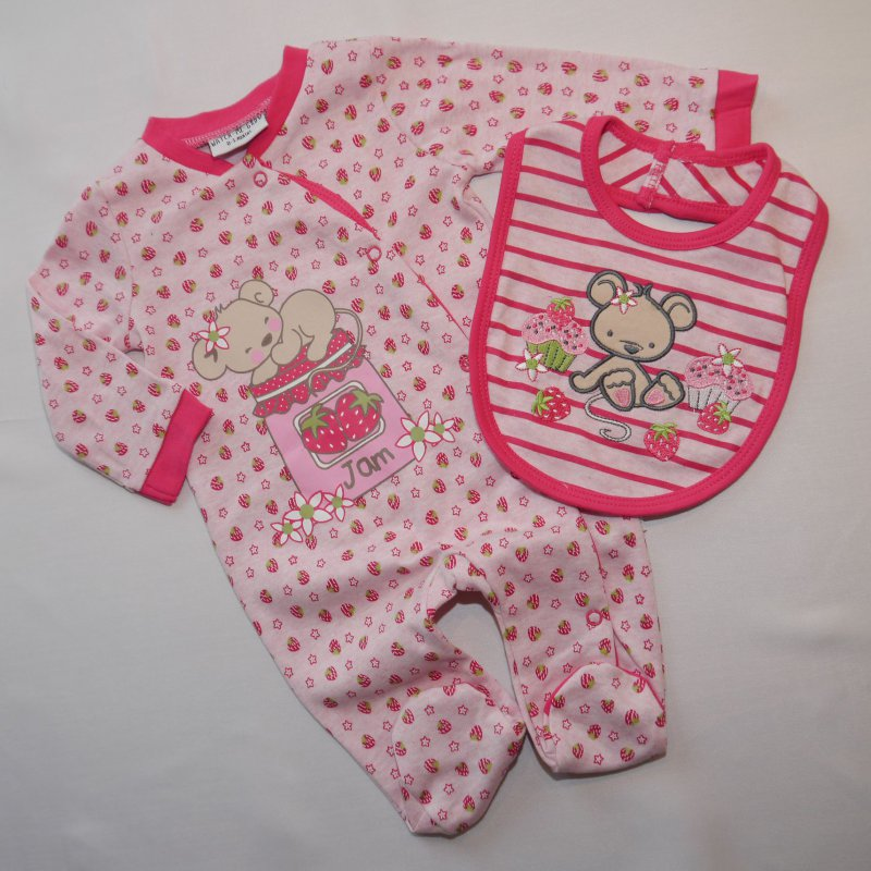 NEU Baby Mädchen 5tlg Strampler Set Schlafanzug Gr.56 62 68 Englandmode
