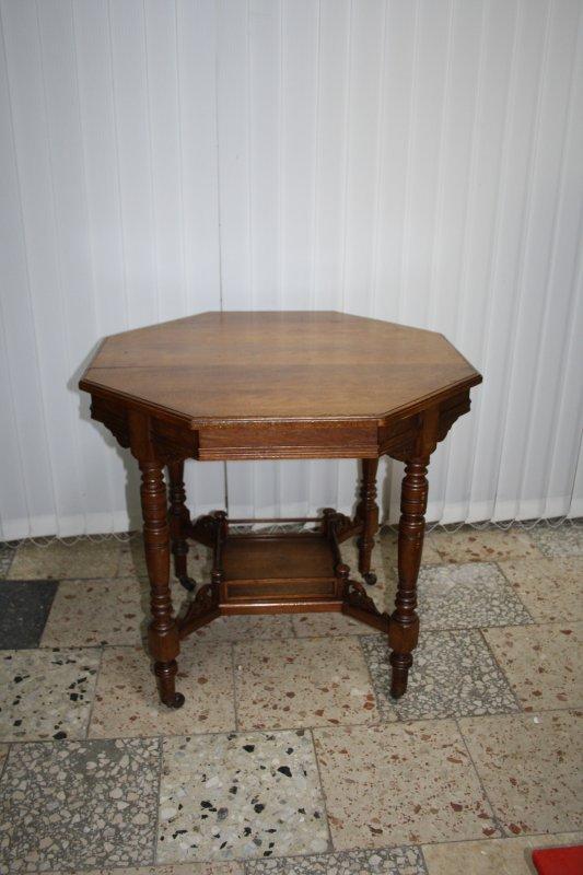 antik englischer beistelltisch tisch massiv eiche 6 seitig um1880 509 ebay. Black Bedroom Furniture Sets. Home Design Ideas