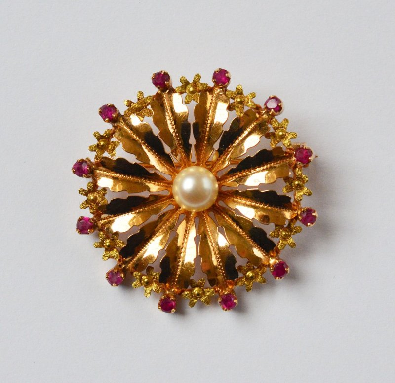 Broschen & Anstecknadeln Diamanten & Edelsteine Rubinbrosche Gold Brosche Broschen In 18kt 750 Gold Mit Rubin Rubinen