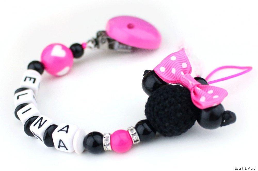 Schnullerkette mit Namen Minnie mouse pink schwarz Mädchen Maus Doppelname