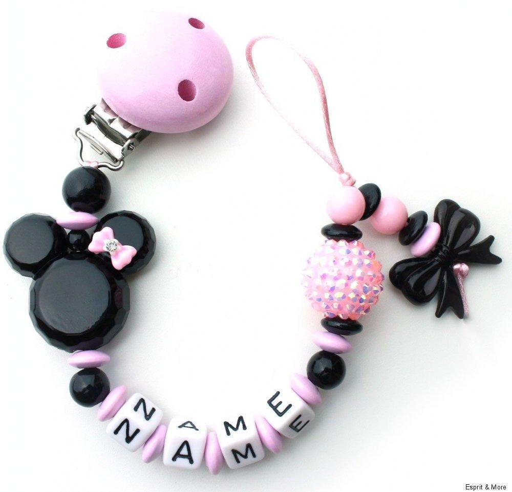 Schnullerkette mit Namen Minnie mouse rosa schwarz Mädchen Maus ...
