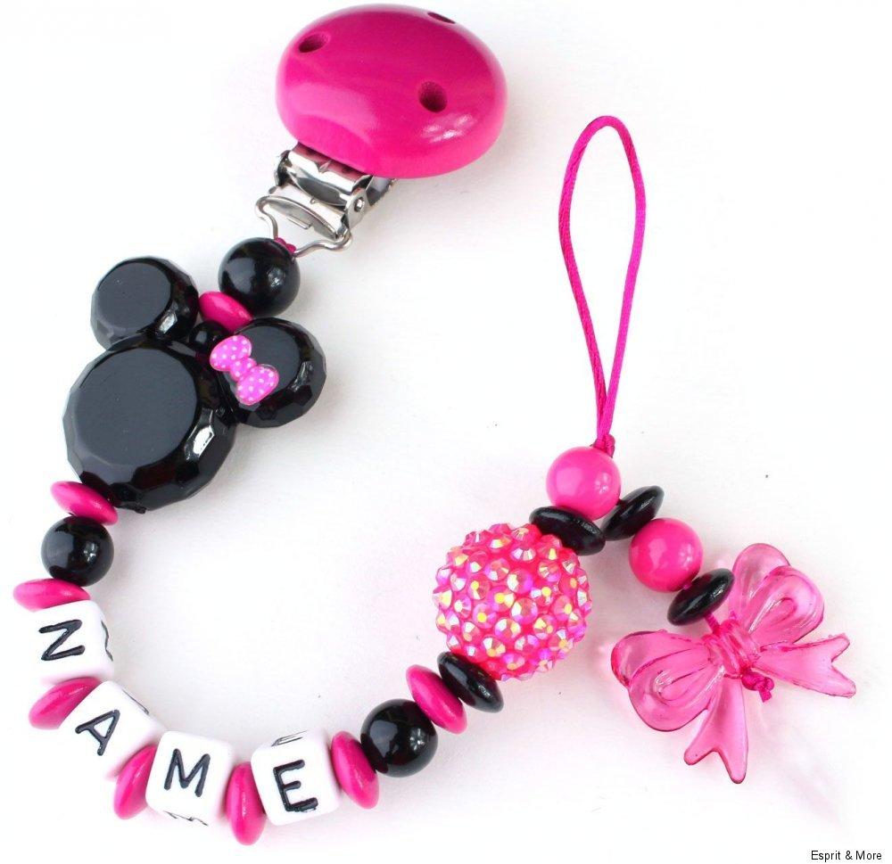 Schnullerkette mit Namen ♥ Minnie Schleife Maus Baby Mädchen • rosa Herz Nucki