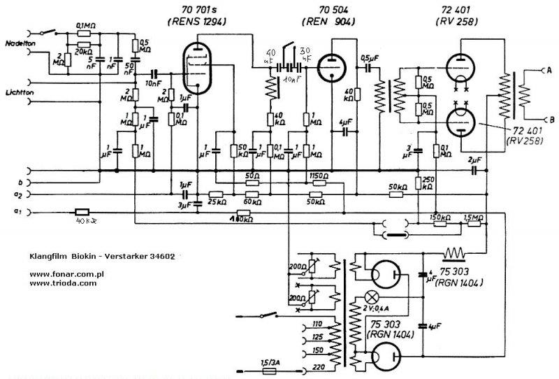 klangfilm biokin cinema amplifier kl34602 with 2x rv258