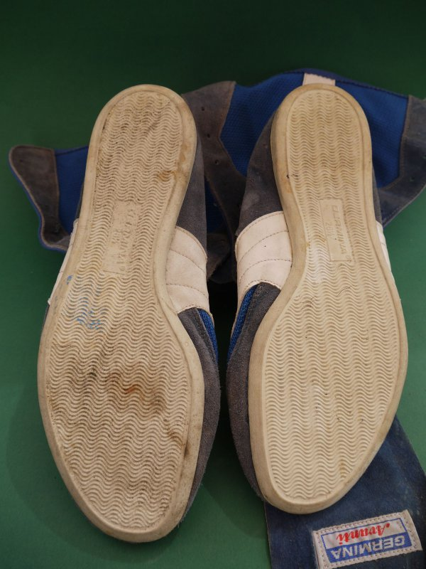 Details zu Germina Avanti DDR Schuhe Boxschuhe blau weiß Gr. 26,5 26 12 40,5 Boxerschuhe
