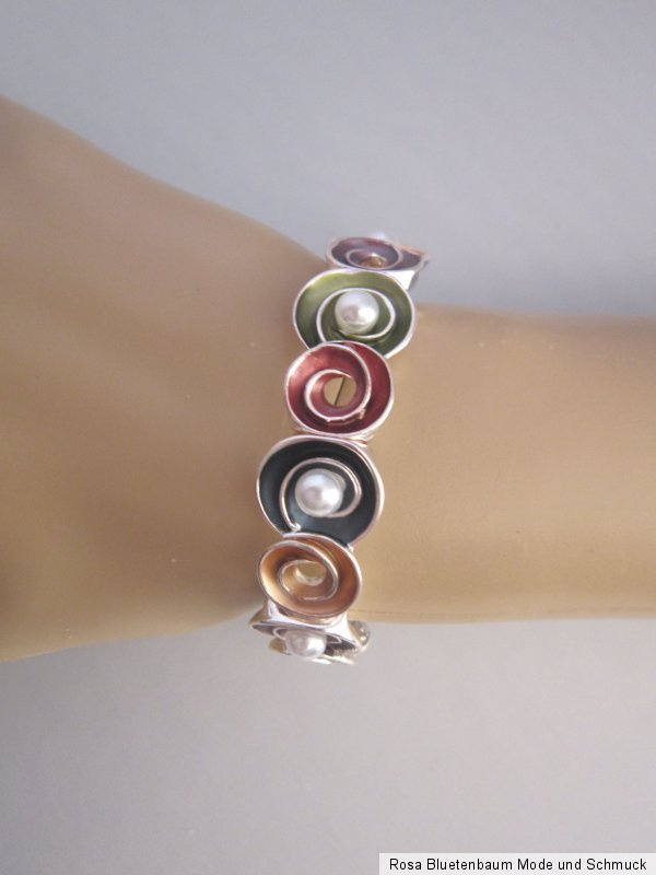 Damen Stretch Armband Armreif Dehnbar Silber Weiss Perlen Aluminium Trend g723