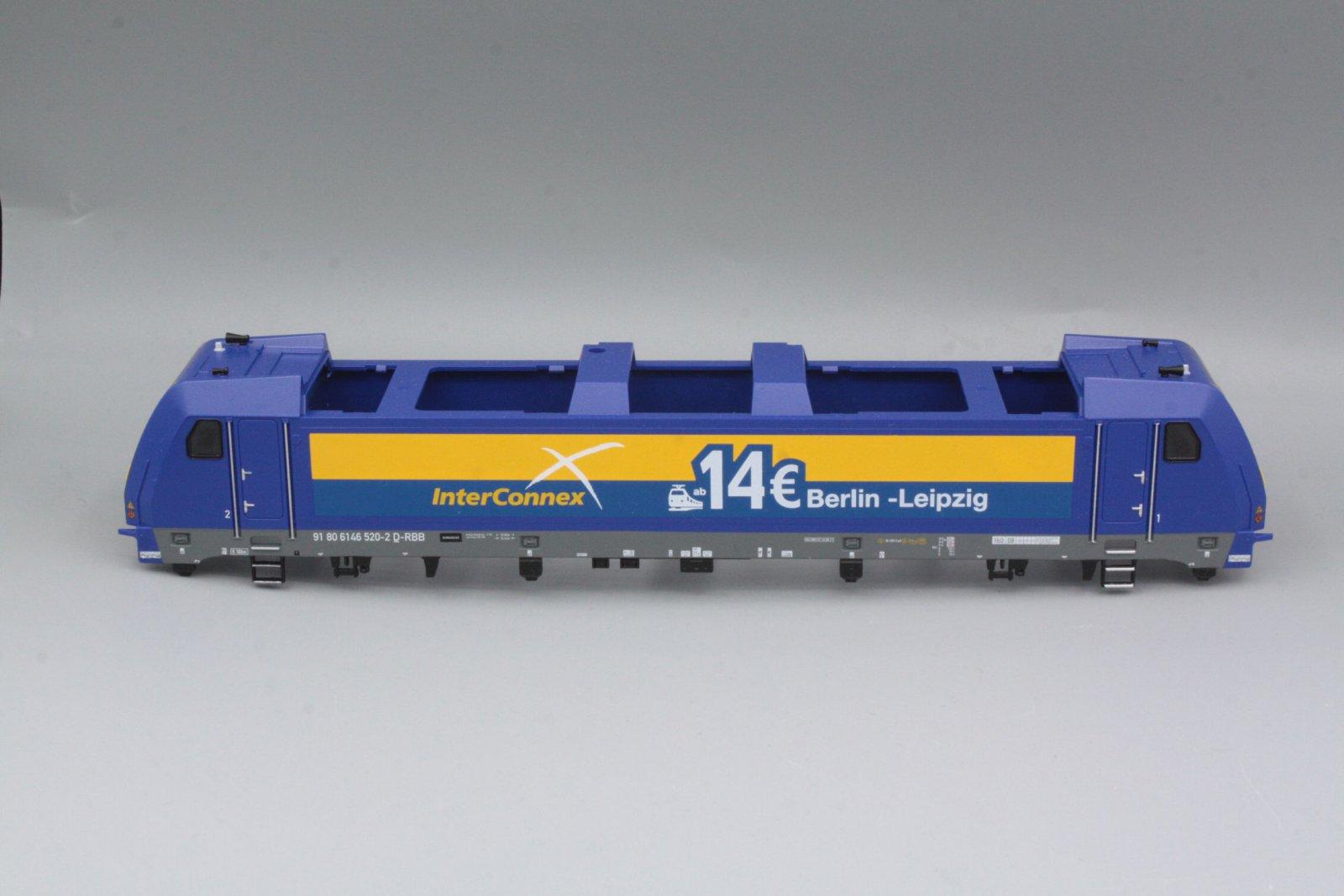 Ersatzteil Piko 146 520-2 Gehäuse Inter Connex blau/ gelb Fenstern, Führerstände