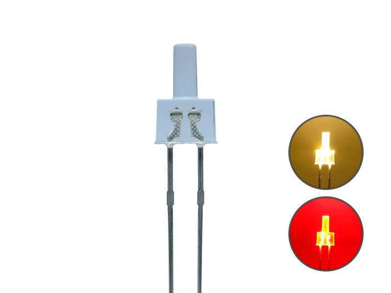DUO Bi-Color LED 2mm lang klar 2pin Bipolar warmweiß / rot