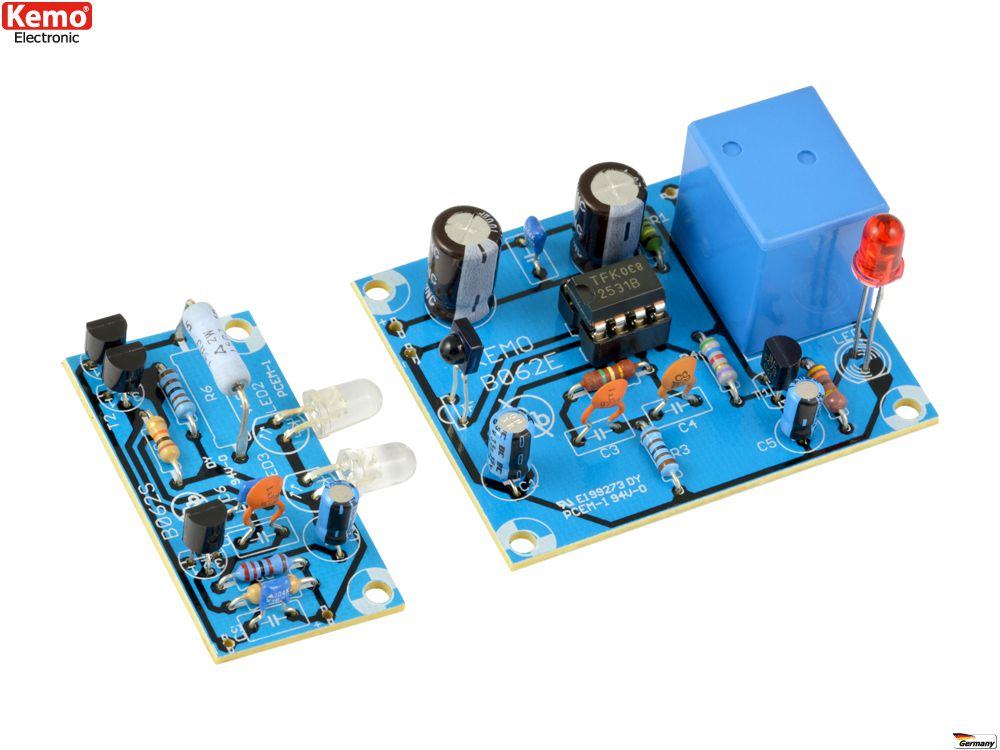 KEMO B062 Infrarot-Lichtschranke max. 18m  Löt-BAUSATZ 9/12 V/DC NEU