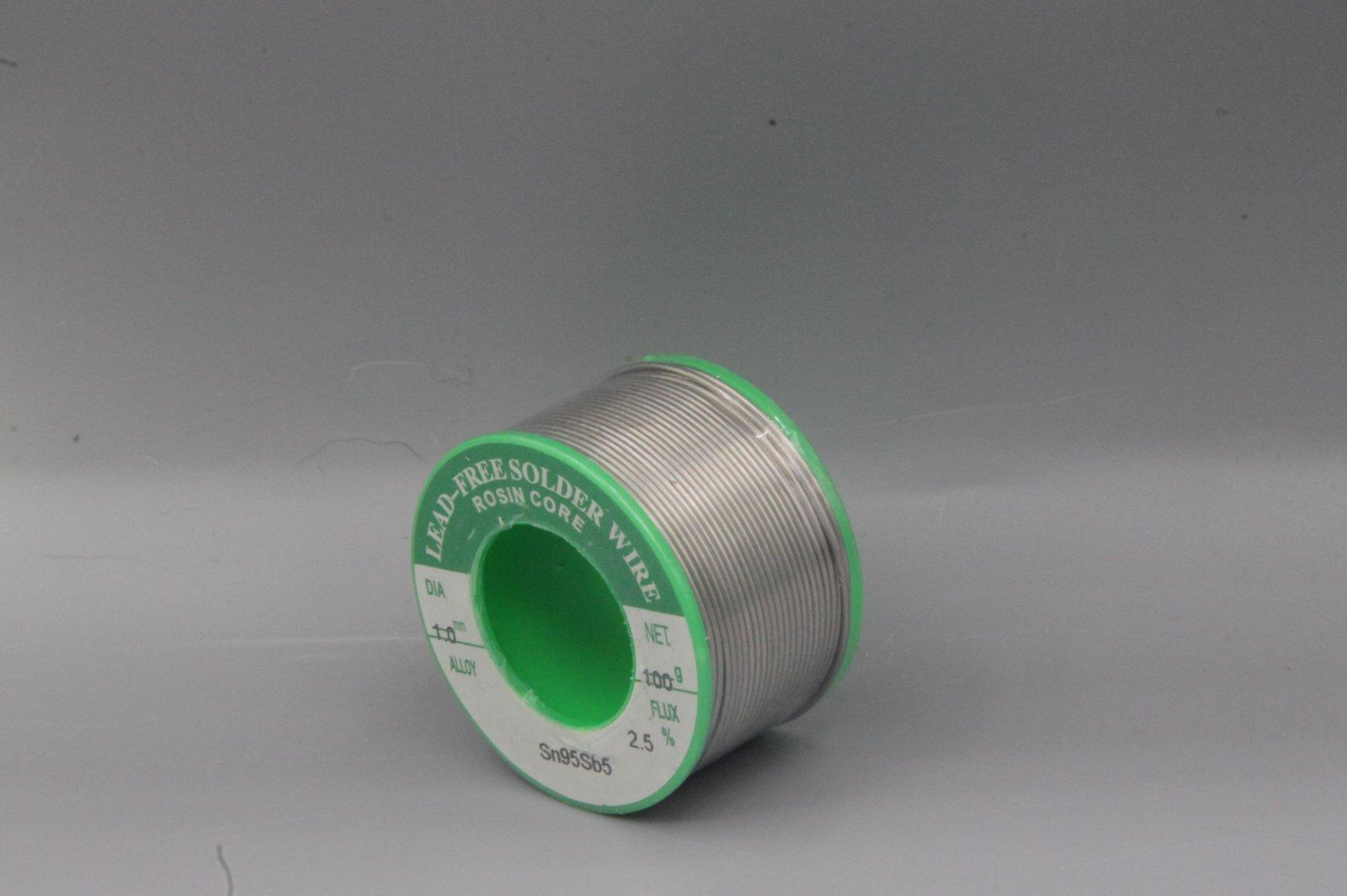 Lötzinn 1mm bleifrei - SN95Sb5 mit 2,5% Flussmittel 100g Lötdraht Lötzinn