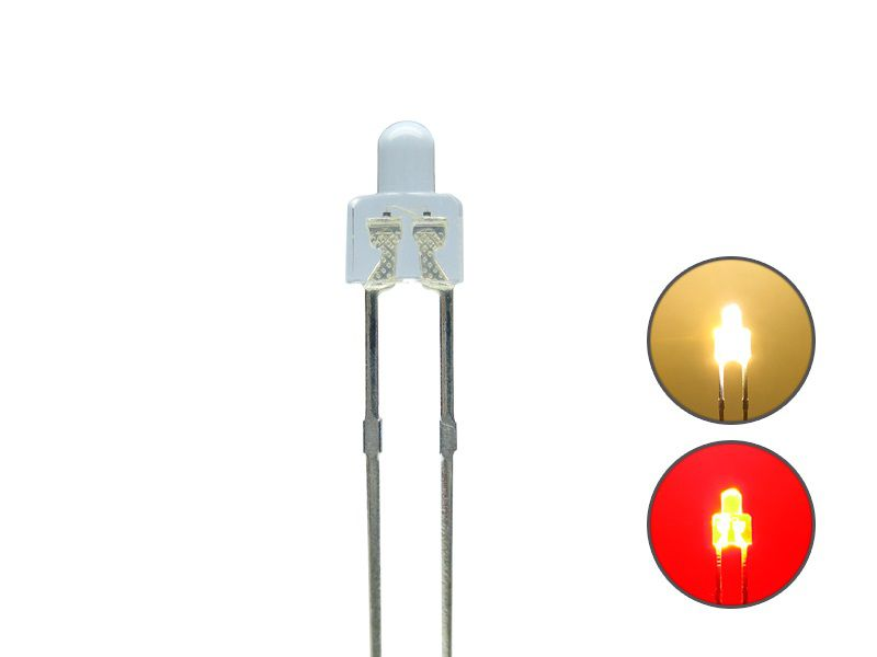 DUO Bi-Color LED 2mm kurz klar 2pin Bipolar warmweiß / rot
