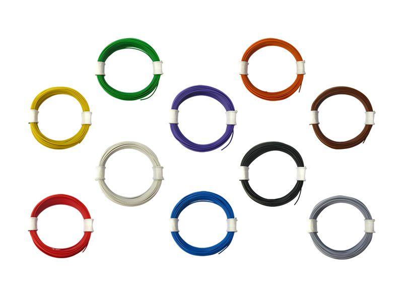 10x 10 m Ring Miniaturkabel Litze flexibel LIVY schwarz 0,04 mm² Kupferlitze