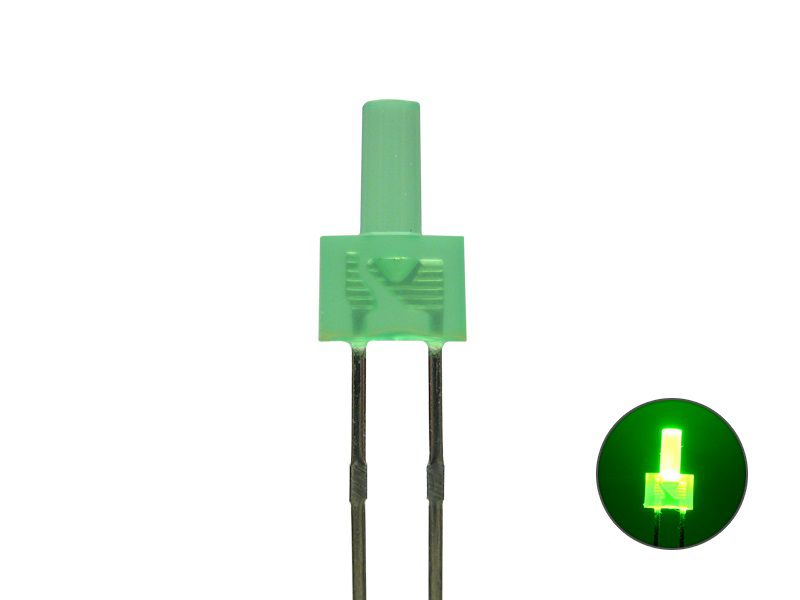 LED 2mm - Tower-LED - grün 2V -diffus- langer Kopf