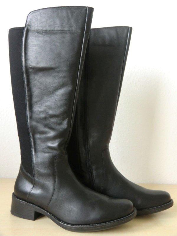 Details zu Polaris Damen Reiterstiefel Schwarz Lederstiefel Stiefel – 25612901