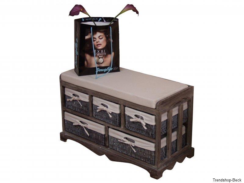 sitzbank inkl polster kommode sitztruhe truhe bank hocker truhenbank massivholz ebay. Black Bedroom Furniture Sets. Home Design Ideas