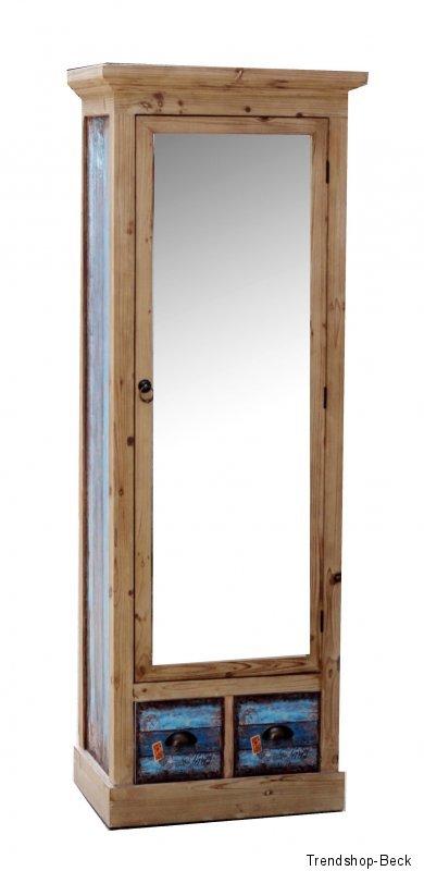 garderobenschrank mit spiegelt r vintage kleiderschrank schrank garderobe ebay. Black Bedroom Furniture Sets. Home Design Ideas