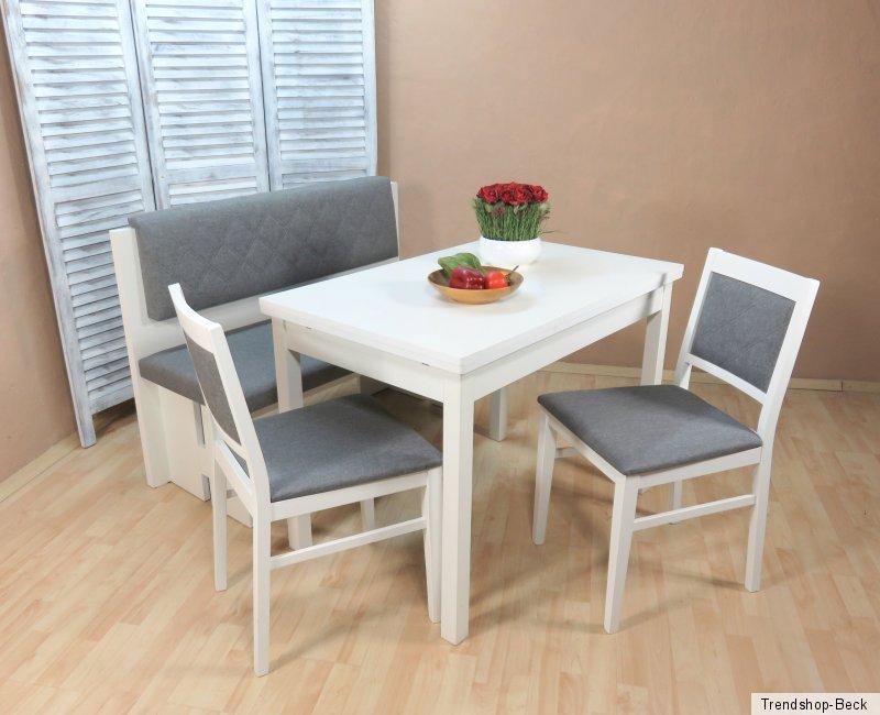 essgruppe 4 tlg esstisch ausziehbar st hle bank sitzbank farbe wei graphit ebay. Black Bedroom Furniture Sets. Home Design Ideas