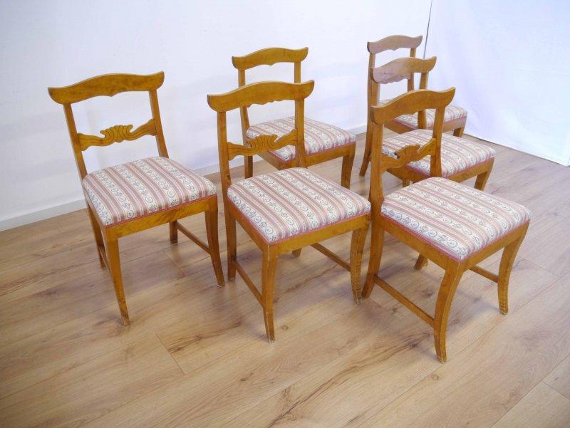 6 biedermeier st hle birke massiv um 1840 ebay. Black Bedroom Furniture Sets. Home Design Ideas
