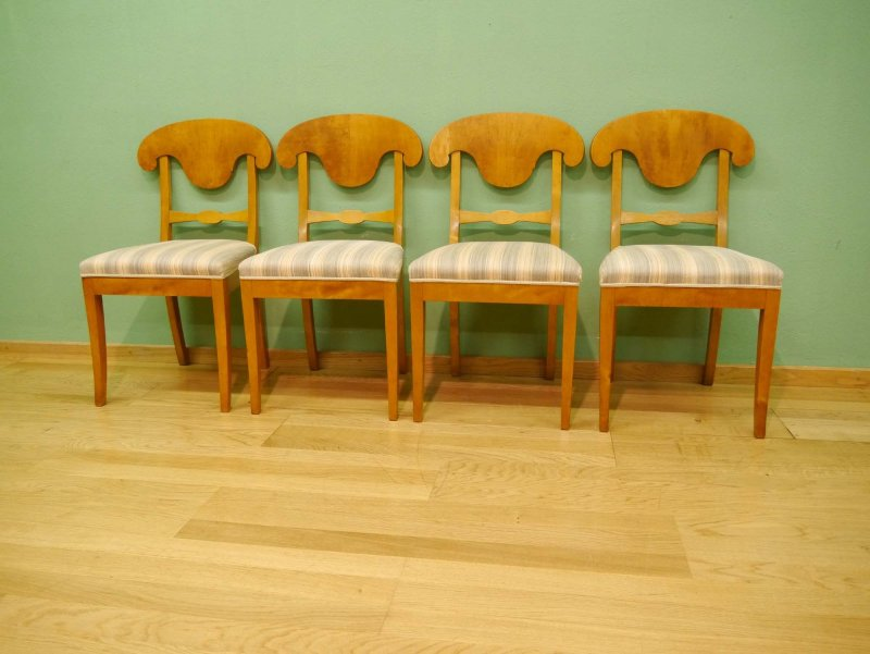 4 Biedermeier Stühle in Birke - sauber und stabil - um 1900 | eBay