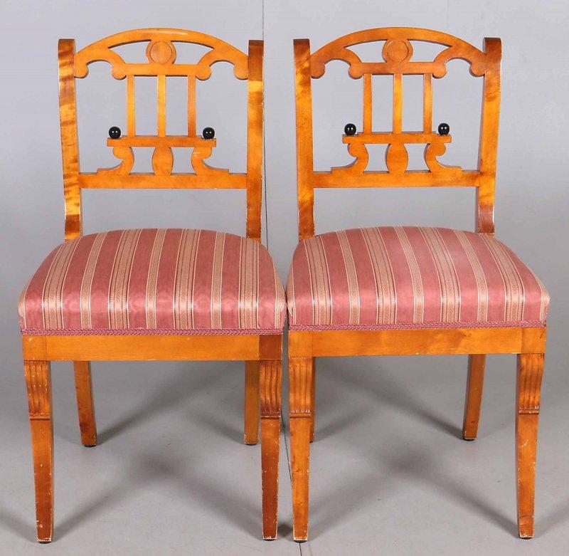 biedermeier 2 st hle 2 sessel birke um 1820 ebay. Black Bedroom Furniture Sets. Home Design Ideas