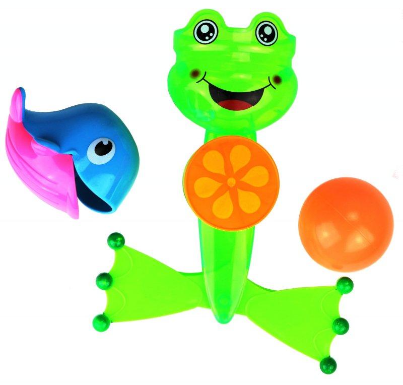 Badespielzeug für die Badewanne mit Ball Wal /& Wasserrad Saugnapf  Spielzeug