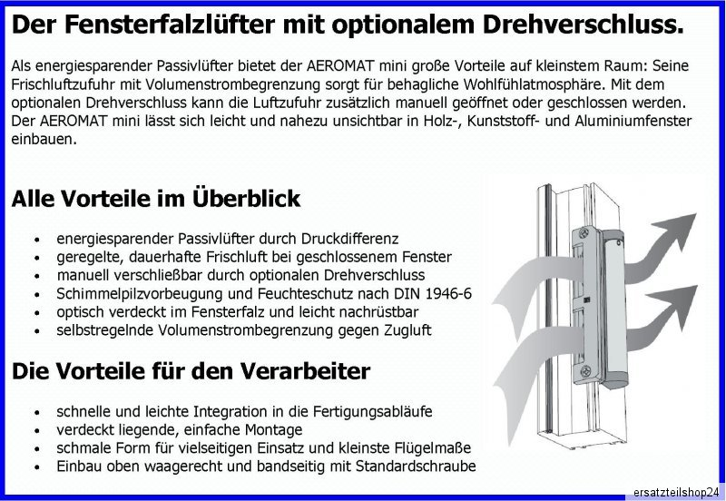 Fensterfalzlüfter Fensterlüfter Drehverschluss Siegenia Aeromat mini,STEG 5mm