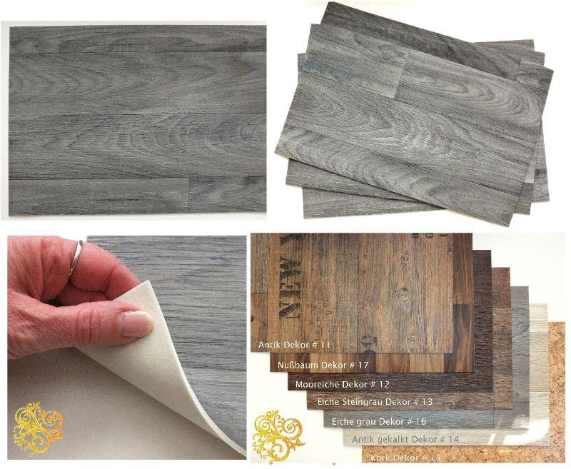 Exclusives Tischset Holzdekor Eiche Grau Abwaschbar Rutschfest