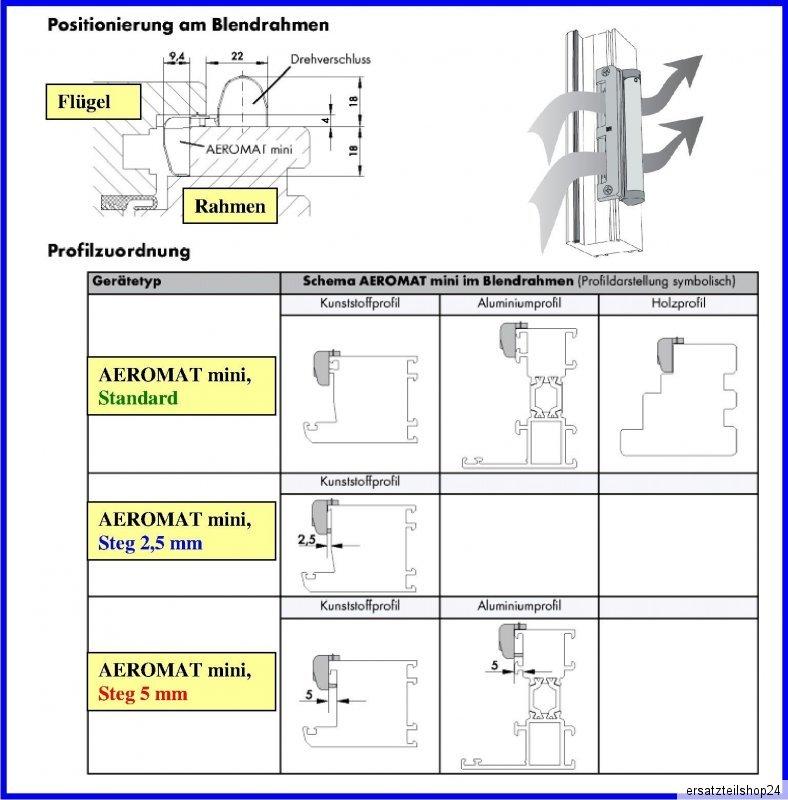Drehverschluss 9016 NEUWARE Siegenia Aeromat mini standard Falzlüfter inkl