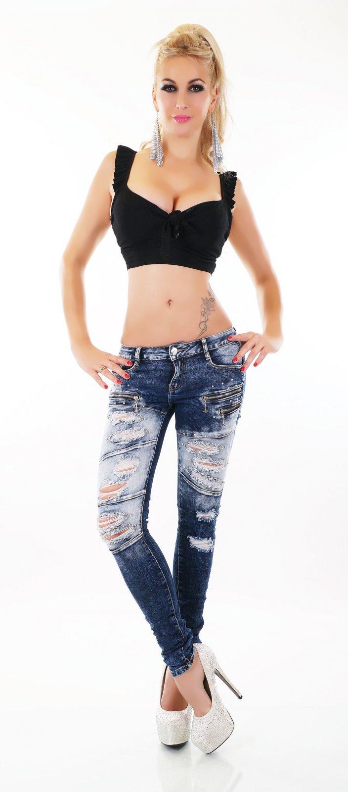 Damen Hüft Jeans Hose Röhrenjeans Skinny Destroyed Risse Fetzen Nieten ORIGINAL