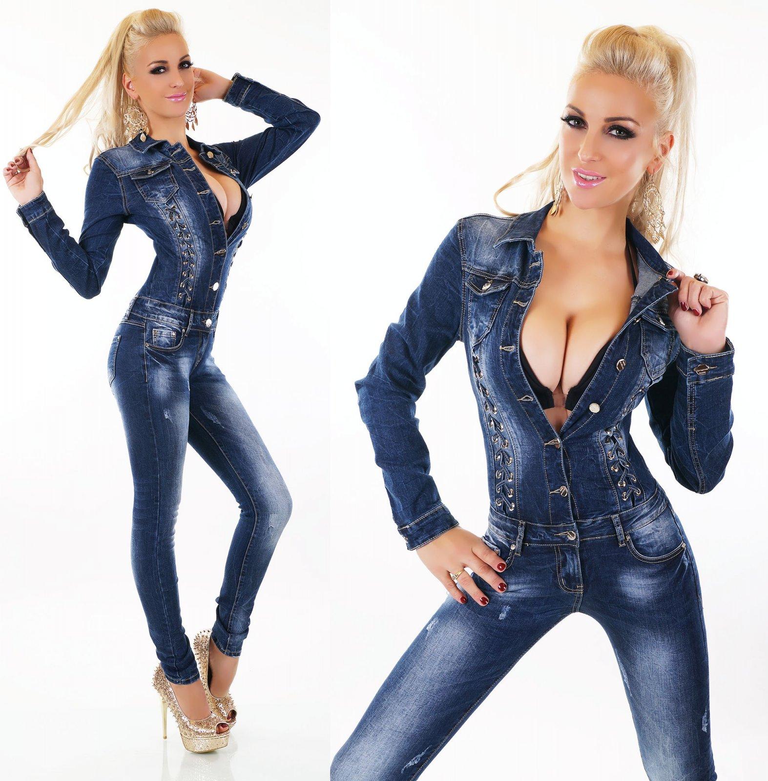 Damen Jeans Overall Hose Bandeau Jumpsuit Röhre Risse Denim Stretch Gürtel