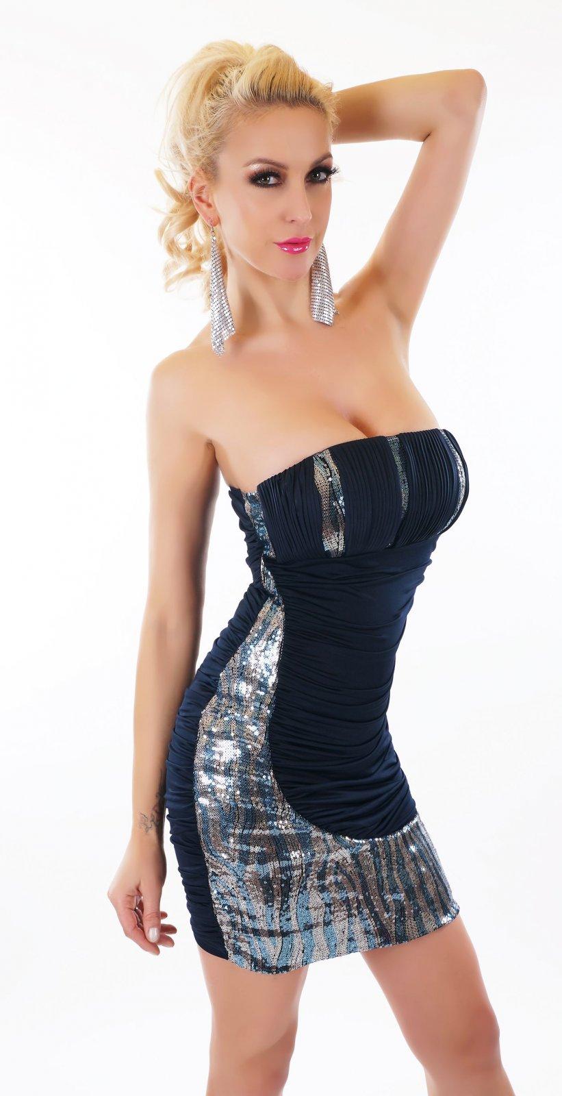 Damen SeXy Mini Kleid Bandeau Schulterfrei Pailletten ...