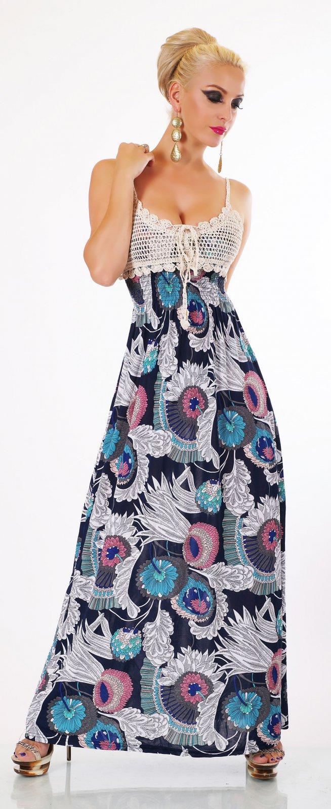 Damen Midi Kleid Knielang Häkel Besatz Sommer Strand Paisley Muster 36-40