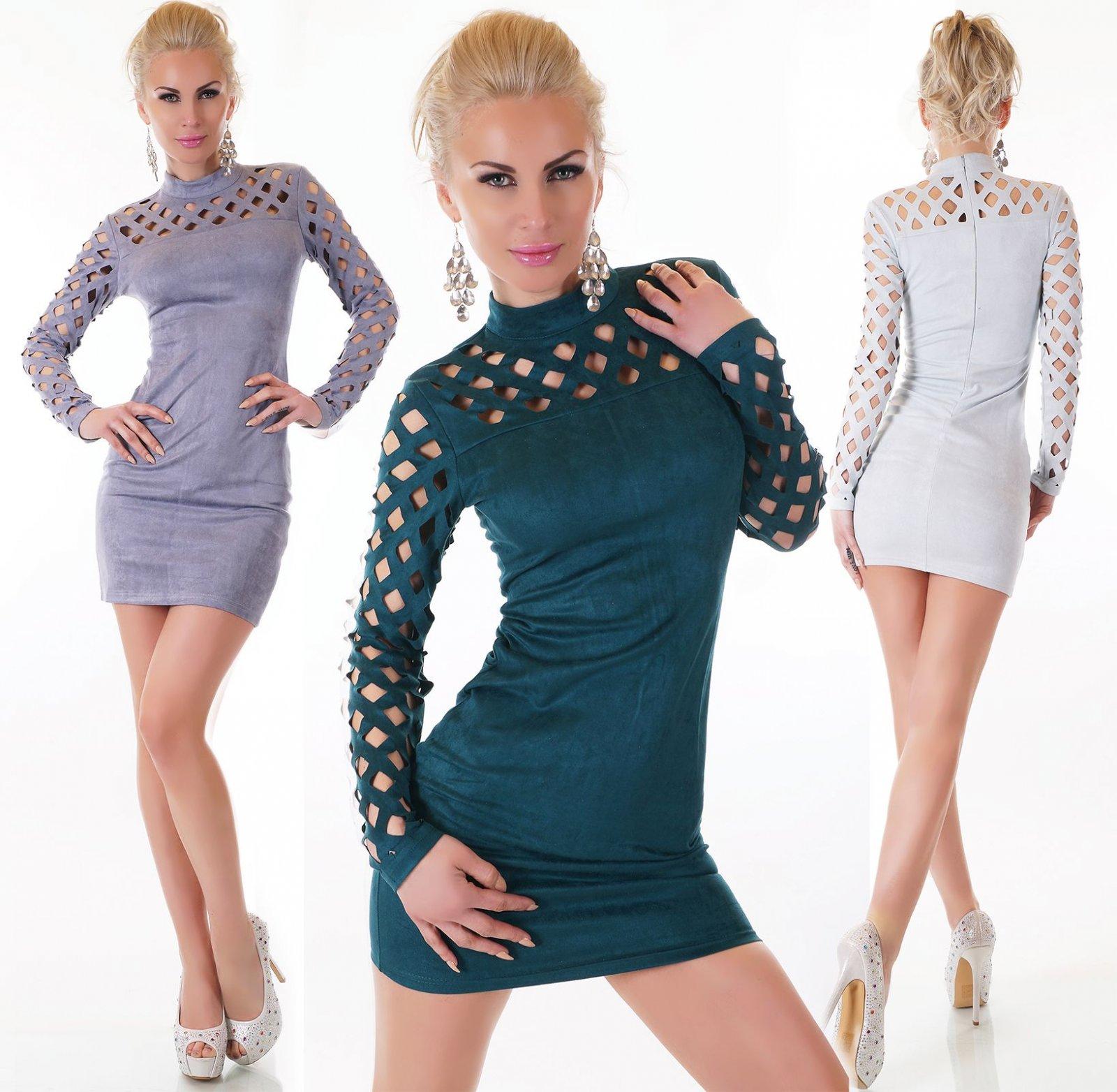 Damen Figurbetontes Kleid Minikleid Stretch Langarm Velour Material