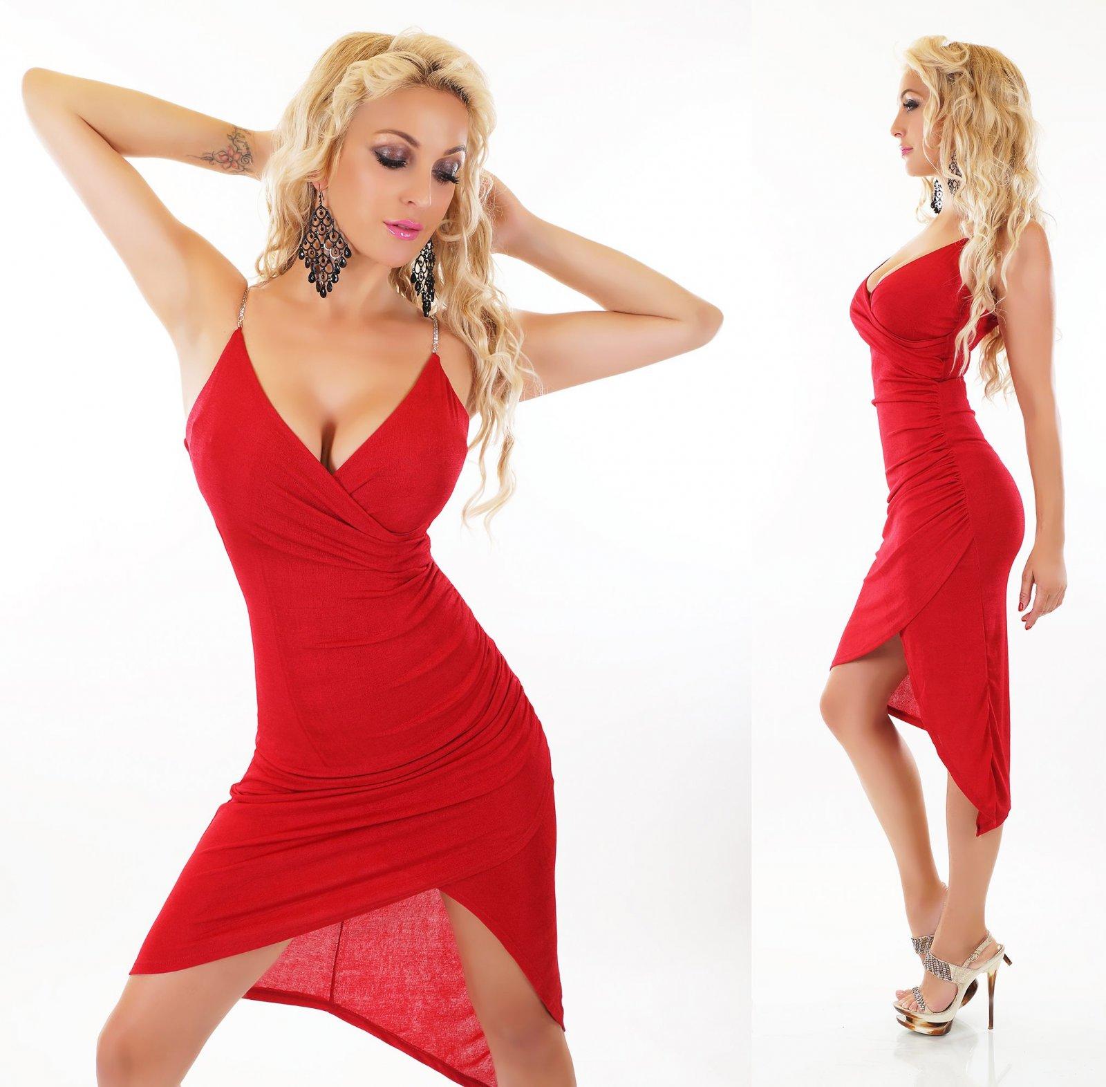 Damen Kleid Asymmetrisch Silvester Party Tanz Cocktailkleid Kette ...