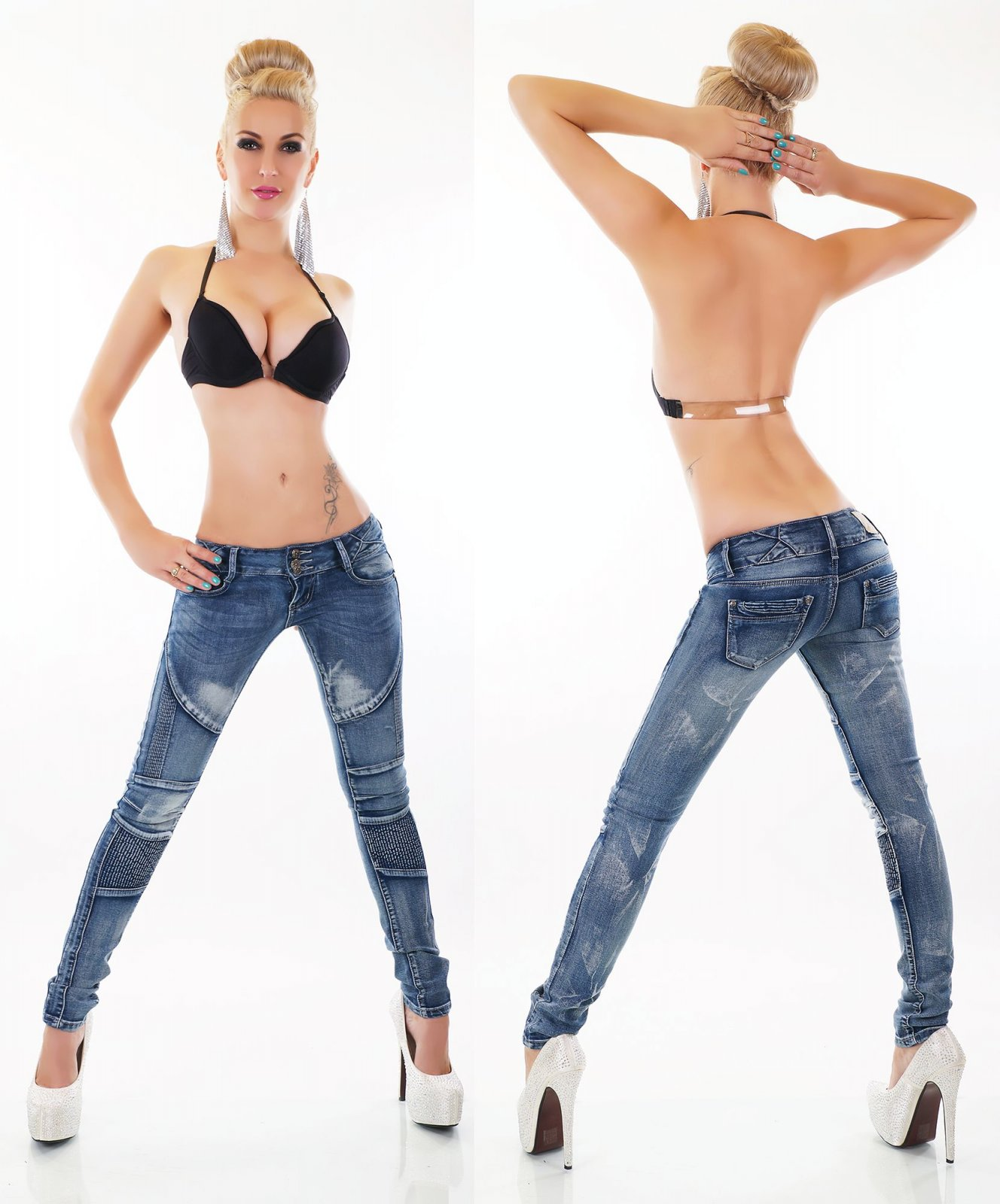 Damen Hüft Jeans Hose Röhrenjeans Skinny Röhre Biker Style Denim Waschung blau