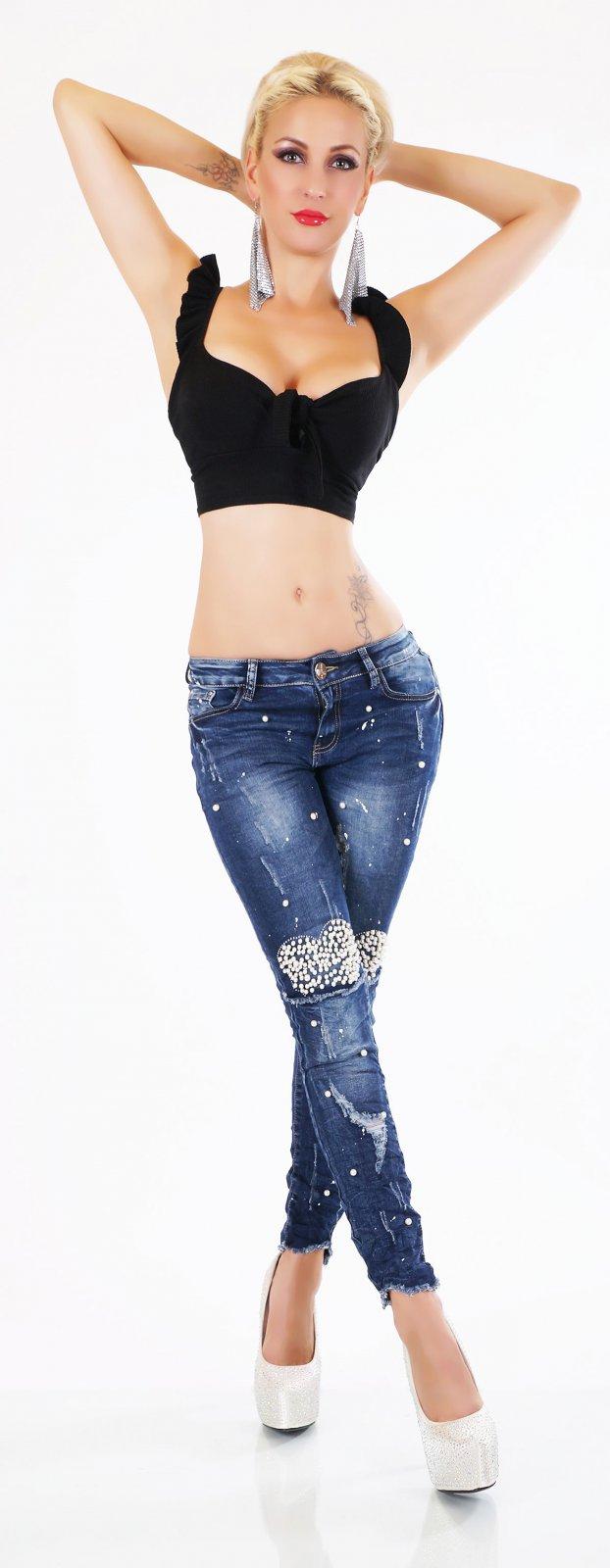 ORIGINAL Designer Stretch Jeans Damen Hose Röhrenjeans