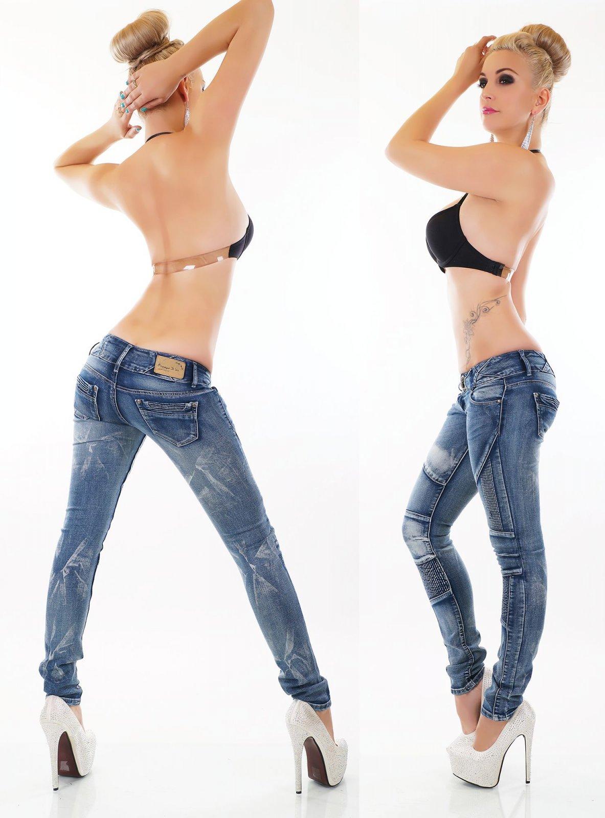 Damen Hoch Jeans Hose Röhrenjeans Skinny Röhre Biker Style Denim Waschung blau